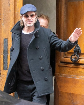 Brad Pitt wearing Black Chinos, White Crew-neck T-shirt, Black Crew-neck Sweater, Black Pea Coat