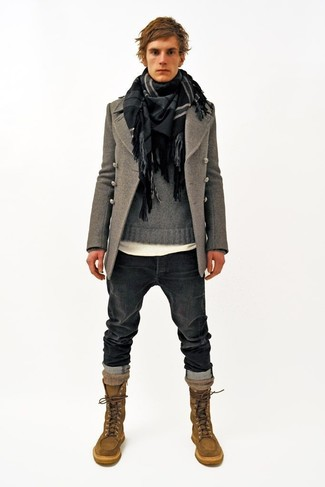 How to wear: charcoal jeans, white crew-neck t-shirt, grey crew-neck sweater, grey pea coat