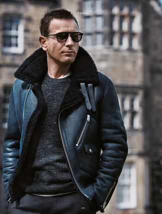 How to wear: black check wool dress pants, white crew-neck t-shirt, black crew-neck sweater, black shearling jacket