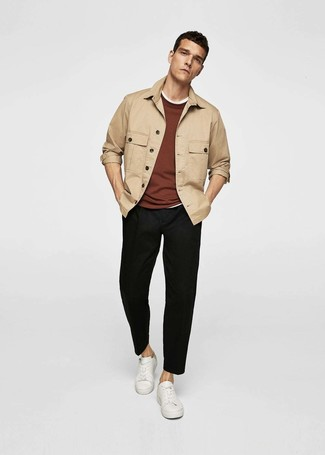 How to wear: black chinos, white crew-neck t-shirt, brown crew-neck sweater, tan shirt jacket