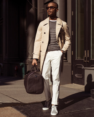 How to wear: white dress pants, white crew-neck t-shirt, brown horizontal striped crew-neck sweater, beige trenchcoat
