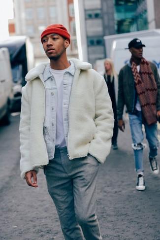 How to wear: grey wool dress pants, white crew-neck t-shirt, light blue denim jacket, white fleece bomber jacket