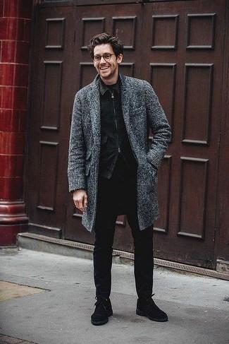 How to wear: black skinny jeans, black crew-neck t-shirt, black denim jacket, charcoal plaid overcoat