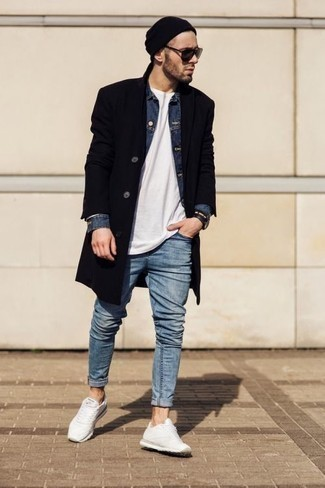 How to Wear Charcoal Sunglasses For Men: If you're looking for a bold casual and at the same time sharp ensemble, choose a black overcoat and charcoal sunglasses. Rounding off with a pair of white athletic shoes is an effortless way to add a sense of stylish effortlessness to this outfit.