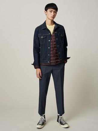 How to wear: navy check dress pants, yellow crew-neck t-shirt, navy denim jacket, dark brown lightweight puffer jacket