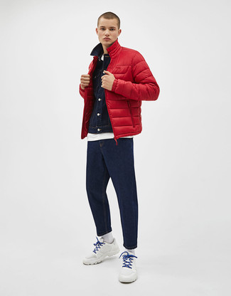 How to wear: navy jeans, white crew-neck t-shirt, navy denim jacket, red puffer jacket
