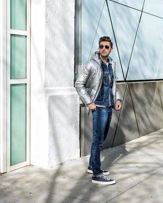 How to wear: navy jeans, white horizontal striped crew-neck t-shirt, navy denim jacket, silver puffer jacket