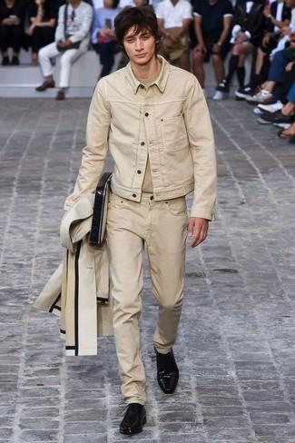 How to wear: beige jeans, beige crew-neck t-shirt, beige denim jacket, beige raincoat