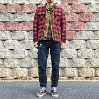 How to wear: navy jeans, charcoal horizontal striped crew-neck t-shirt, tan denim jacket, red and black check shirt jacket