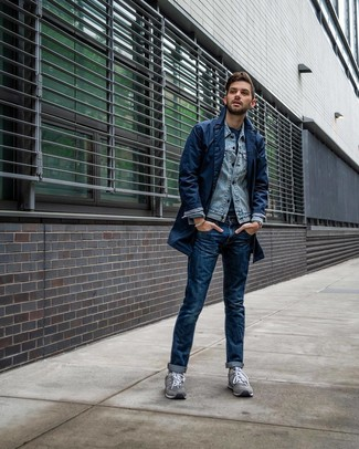 How to wear: navy jeans, navy crew-neck t-shirt, light blue denim jacket, navy trenchcoat