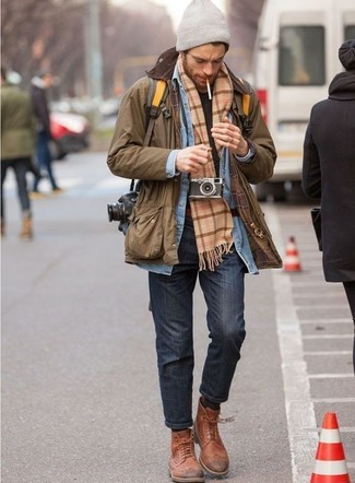 How to wear: charcoal jeans, black crew-neck t-shirt, light blue denim shirt, brown barn jacket