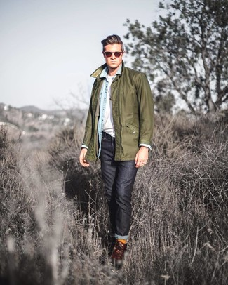 How to wear: black jeans, white crew-neck t-shirt, light blue denim shirt, olive barn jacket