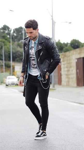 How to wear: black skinny jeans, white and black print crew-neck t-shirt, light blue denim shirt, black leather biker jacket