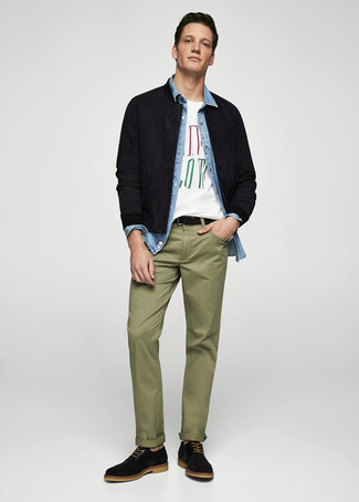 How to wear: olive chinos, white print crew-neck t-shirt, light blue denim shirt, black suede bomber jacket