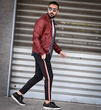 How to wear: black chinos, white crew-neck t-shirt, navy denim shirt, burgundy leather bomber jacket