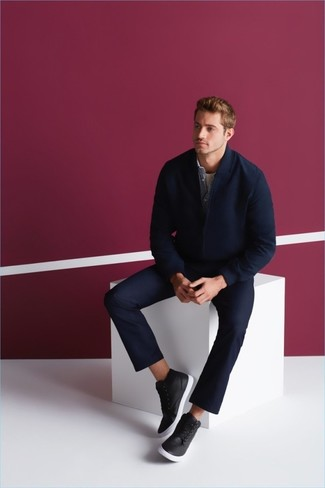 How to wear: navy chinos, white crew-neck t-shirt, light blue denim shirt, navy wool bomber jacket
