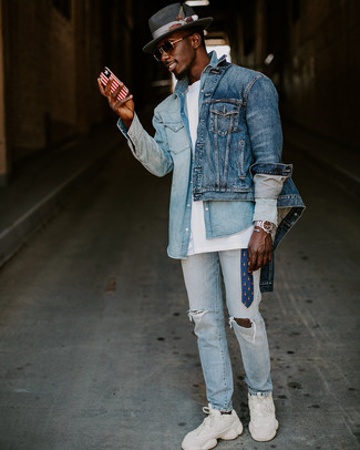 How to wear: light blue ripped jeans, white crew-neck t-shirt, light blue denim shirt, blue denim jacket