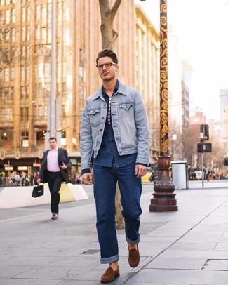 How to wear: navy jeans, white and navy horizontal striped crew-neck t-shirt, navy denim shirt, light blue denim jacket
