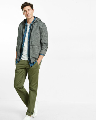 How to wear: olive chinos, white crew-neck t-shirt, blue denim shirt, grey hoodie