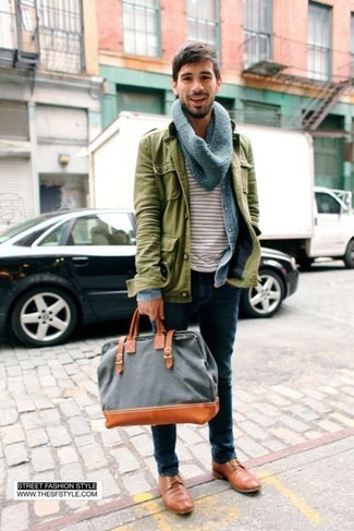 How to wear: navy jeans, white and red horizontal striped crew-neck t-shirt, light blue denim shirt, olive military jacket