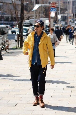 How to wear: navy jeans, white crew-neck t-shirt, blue denim shirt, yellow raincoat