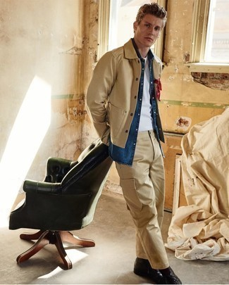 Men's Looks & Outfits: What To Wear In 2020: This casual combination of a tan shirt jacket and khaki cargo pants couldn't possibly come across other than ridiculously sharp. You can stick to the classic route on the shoe front by finishing with black leather casual boots.