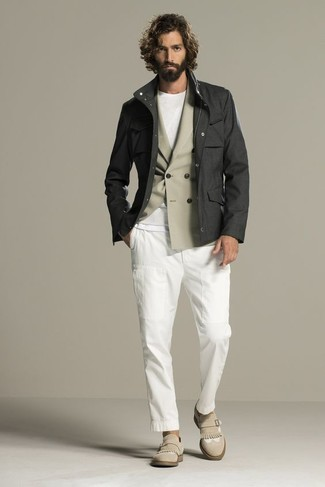 How to wear: white chinos, white crew-neck t-shirt, beige double breasted blazer, charcoal field jacket
