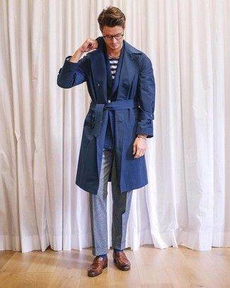 How to wear: grey wool dress pants, white and navy horizontal striped crew-neck t-shirt, navy wool double breasted blazer, navy trenchcoat