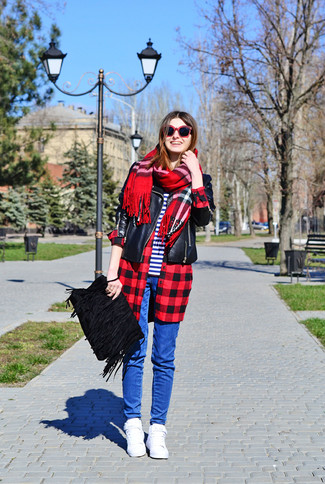 How to wear: blue skinny jeans, white and navy horizontal striped crew-neck t-shirt, red and black check dress shirt, black leather biker jacket
