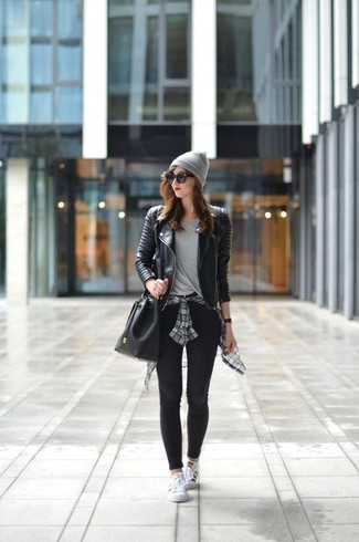 How to wear: black leggings, grey crew-neck t-shirt, grey plaid dress shirt, black quilted leather biker jacket