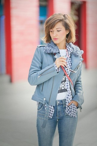 How to wear: blue skinny jeans, white and black print crew-neck t-shirt, navy and white gingham dress shirt, light blue leather biker jacket