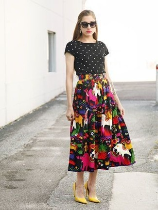 How to wear: black and white polka dot crew-neck t-shirt, multi colored print full skirt, mustard suede pumps, black sunglasses