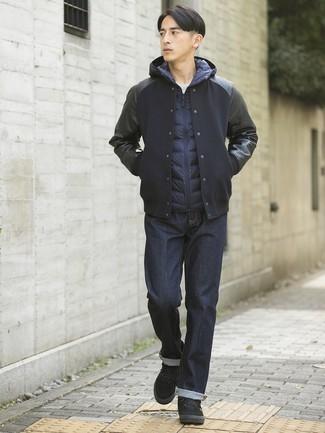 How to wear: navy jeans, white crew-neck t-shirt, navy gilet, black varsity jacket