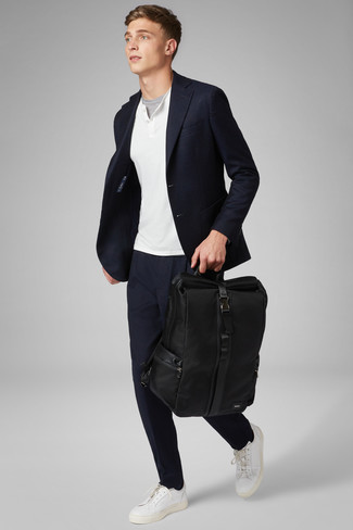How to wear: navy chinos, grey crew-neck t-shirt, white henley sweater, navy blazer