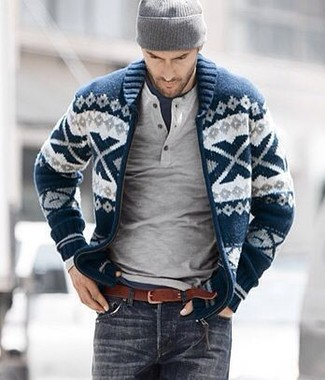 How to wear: charcoal jeans, navy crew-neck t-shirt, grey henley sweater, navy and white fair isle shawl cardigan