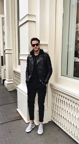 How to Wear a Black Hoodie For Men: For a casual look, consider pairing a black hoodie with black chinos — these two items go really well together. Light blue canvas slip-on sneakers are a wonderful pick to complete your ensemble.