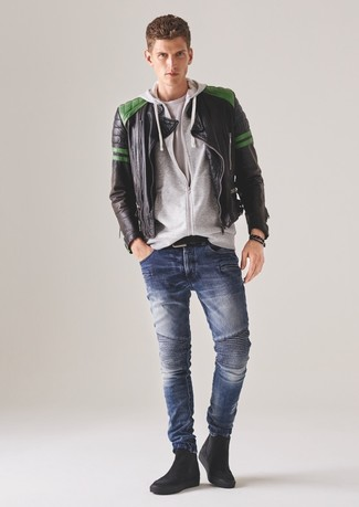 How to wear: blue skinny jeans, white crew-neck t-shirt, grey hoodie, black quilted leather bomber jacket