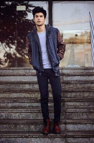 How to wear: navy jeans, grey crew-neck t-shirt, charcoal hoodie, navy bomber jacket