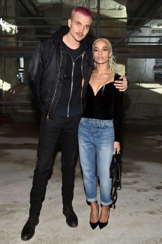 How to wear: black skinny jeans, black crew-neck t-shirt, black hoodie, black bomber jacket