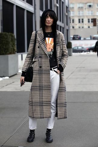 How to wear: white jeans, black print crew-neck t-shirt, black hoodie, beige plaid coat