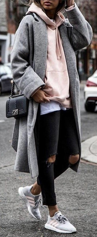 How to wear: black ripped skinny jeans, white crew-neck t-shirt, pink hoodie, grey coat