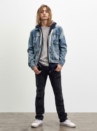 How to wear: black ripped jeans, grey crew-neck t-shirt, navy hoodie, light blue denim jacket