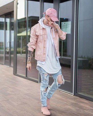 How to wear: light blue ripped jeans, white crew-neck t-shirt, white hoodie, pink denim jacket