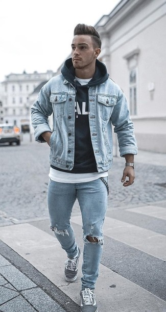 How to wear: light blue ripped skinny jeans, white crew-neck t-shirt, black and white print hoodie, light blue denim jacket