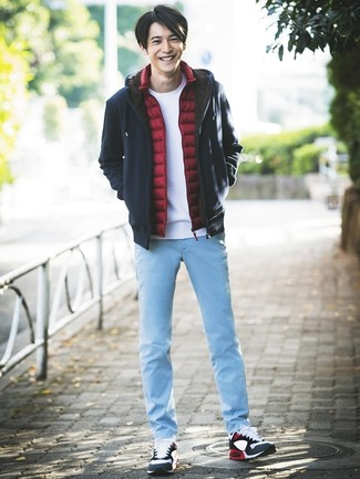 How to wear: light blue jeans, white crew-neck t-shirt, navy hoodie, red gilet