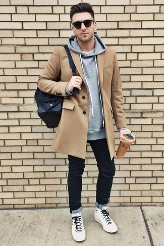 How to wear: black jeans, white crew-neck t-shirt, grey hoodie, camel overcoat