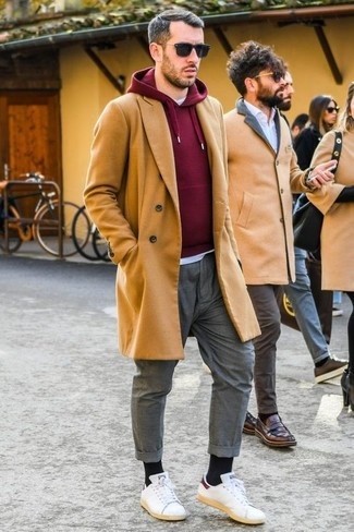 How to wear: grey chinos, white crew-neck t-shirt, burgundy hoodie, camel overcoat