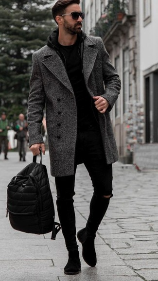 How to Wear a Charcoal Herringbone Overcoat: A charcoal herringbone overcoat and black ripped skinny jeans are a smart look to add to your menswear arsenal. Finishing with a pair of black suede chelsea boots is a guaranteed way to add a bit of depth to your ensemble.