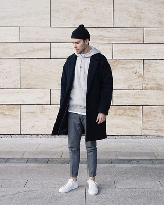 How To Wear a White Crew-neck T-shirt With a Grey Hoodie Casually For Men: If you feel more confident wearing something comfortable, you'll love this modern casual combo of a grey hoodie and a white crew-neck t-shirt. If you're not sure how to finish, throw a pair of white leather low top sneakers in the mix.