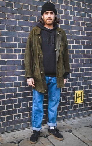 How to Wear Black Canvas Low Top Sneakers For Men: This casual combination of an olive raincoat and blue jeans is extremely easy to throw together without a second thought, helping you look awesome and prepared for anything without spending too much time combing through your closet. When it comes to shoes, complement this getup with a pair of black canvas low top sneakers.